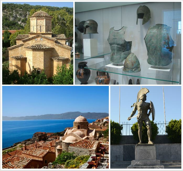 Monnastery of Loukou, Sparta Museum, The Statue of Leonidas in Sparta & Monemvasia Castle